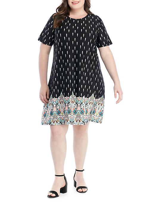 New Directions® Plus Size Short Sleeve ITY Printed