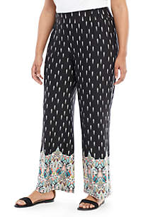 New Directions® Plus Size Border Print Palazzo Pants