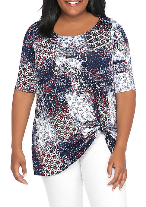 New Directions® Plus Size Knit 3/4 Sleeve Side