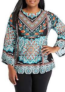 Plus Size Textured Medallion Print Top