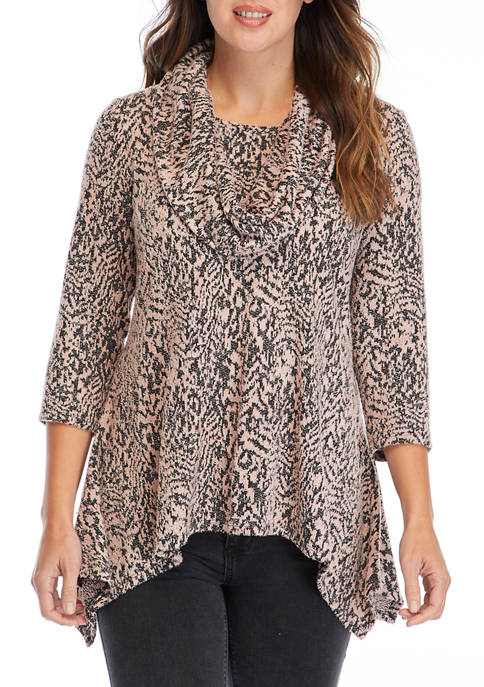 New Directions® Plus Size Hacci Cowl Neck Sweater