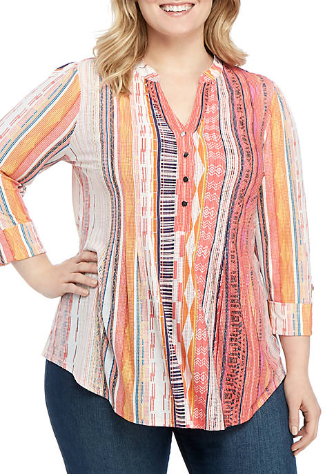 New Directions® Plus Size 3/4 Sleeve Tribal Stripe