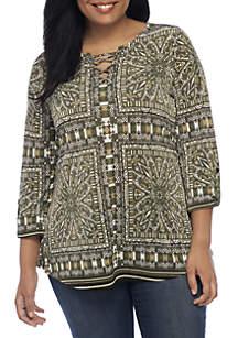 Plus Size Three-Quarter Roll-Tab Border Print Lace-Up Tunic