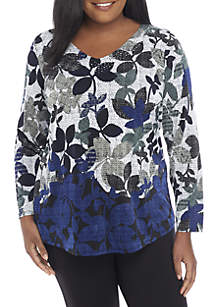 Plus Size Floral Print V-Neck Blouse