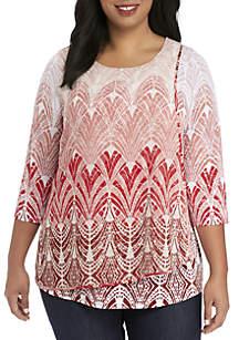 Plus Size Knit Cross Over Dress