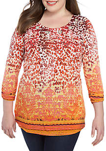 New Directions® Plus Size 3/4 Sleeve Grommet Swing Top