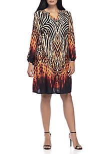 Plus Size 3/4 Sleeve Y-Neck Border Print Dress