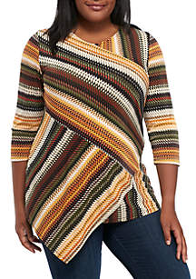 Plus Size Three-Quarter Sleeve V-Neck Splice Stripe Asymmetrical Tunic