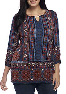 Plus Size Three-Quarter Sleeve Border Print Tunic