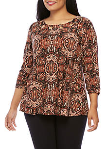 Plus Size Grommet Swing Brushed Top