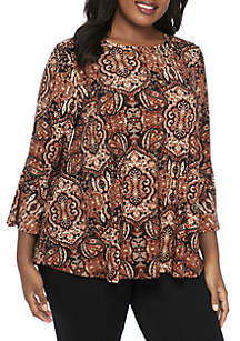Plus Size Three-Quarter Sleeve Ikat Embroidered Mesh Top