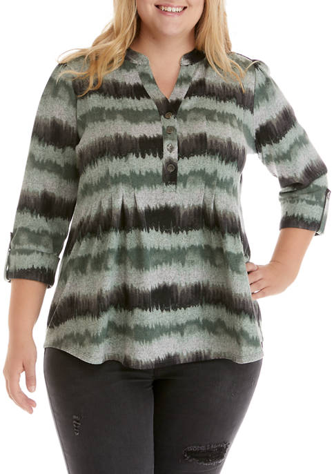 New Directions® Plus Size 3/4 Sleeve Henley Hacci