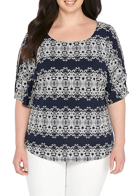 New Directions® Plus Size Knit 3/4 Sleeve Grommet