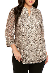 New Directions® Plus Size Printed Lace Henley Top