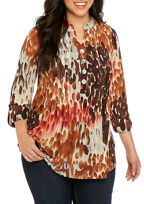 New Directions® Plus Size Mesh Henley Top