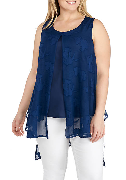 New Directions® Plus Size Sleeveless Burnout Flyaway Tank