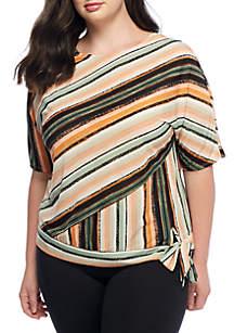 Plus Size Printed Elbow Sleeve Side Tie Tee