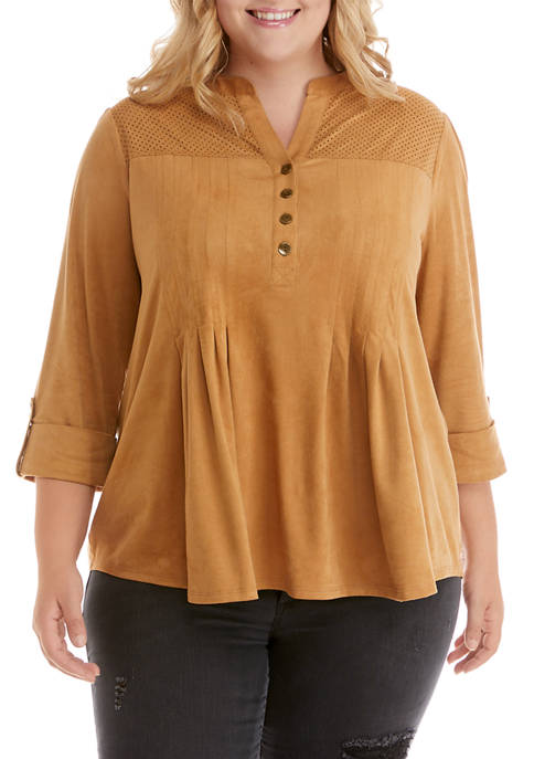 New Directions® Plus Size 3/4 Sleeve Suede Henley