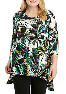 New Directions® Plus Size 3/4 Sleeve Shadow Stripe Palm Print Top