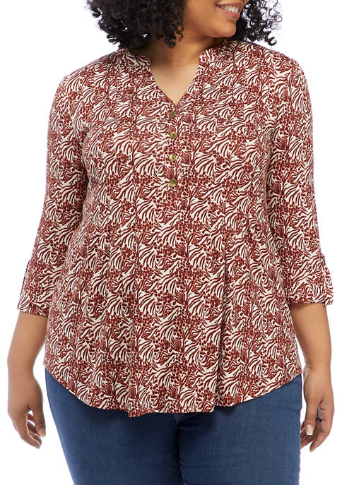 Plus Size Roll Tab Printed Henley Knit Top