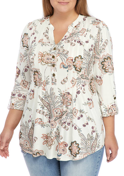 Plus Size Roll Tab Floral Henley Top