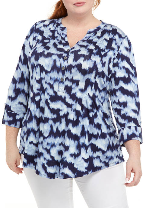 New Directions® Plus Size Printed Henley Shirt