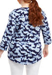 Plus Size Printed Henley Shirt