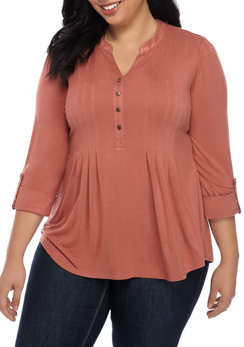 Plus Size Henley Roll Tab Top