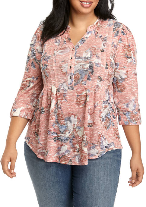 Womens Plus Size Henley
