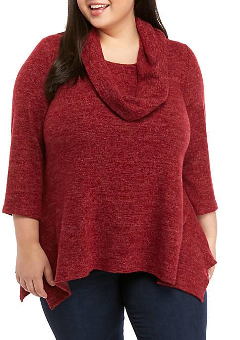 New Directions® Plus Size Hacci Knit Cowl Neck