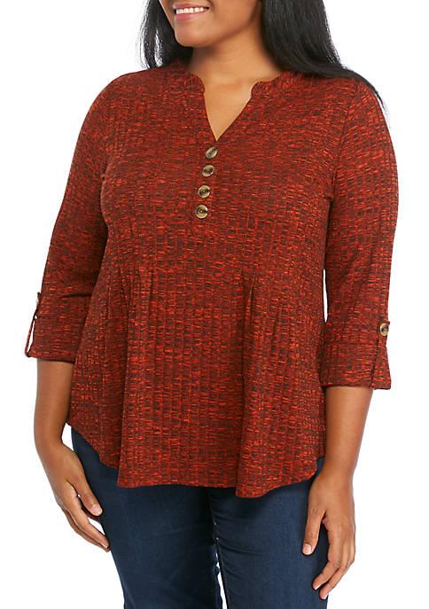 Plus Size Rib Knit Henley Top