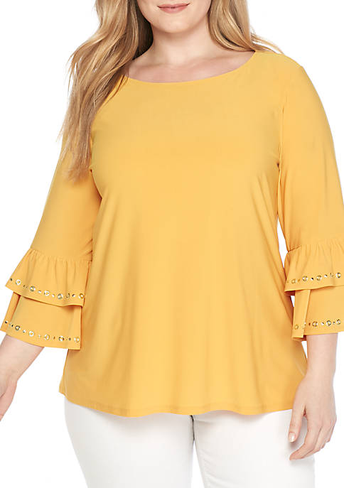 New Directions® Plus Size Double Ruffle ITY Top