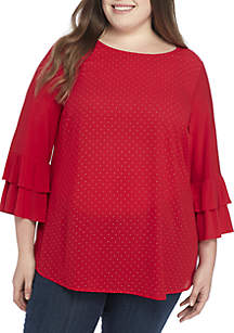 Plus Size Tiered Ruffle Sleeve Shirt