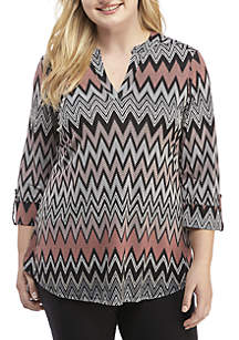 New Directions® Plus Size 3/4 Roll-Tab Sleeve Puff Chevron Print Top