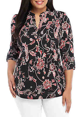 0f7299d254e New Directions® Plus Size 3/4 Sleeve Henley Top ...