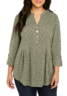 New Directions® Plus Size Knit Henley Vintage Top