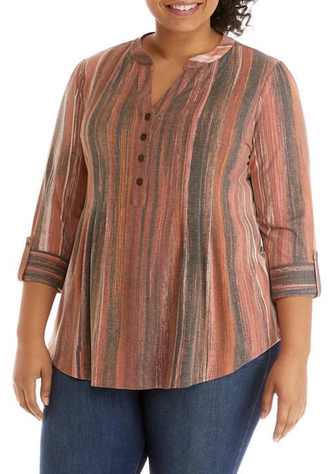 Plus Size 3/4 Sleeve Henley Stripe Combo Top