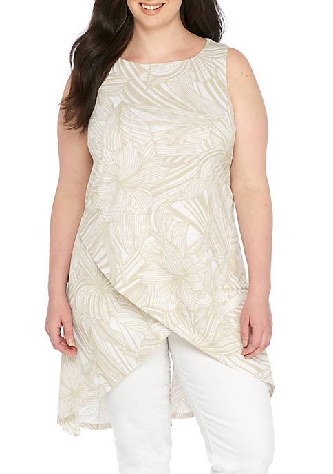 New Directions® Plus Size Sleeveless Asymmetric Palm Tank