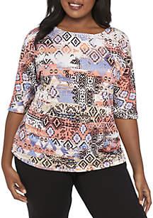 Plus Size Short Sleeve Ikat Heatstuds Top