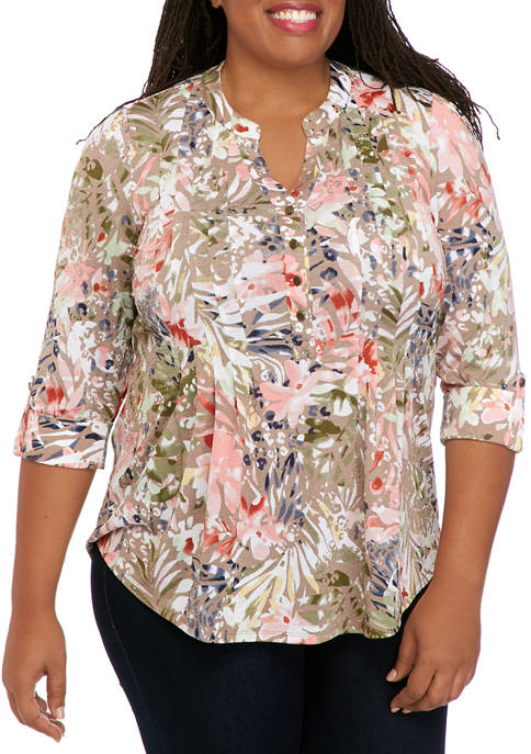 New Directions® Plus Size Henley Yoyo Knit Top