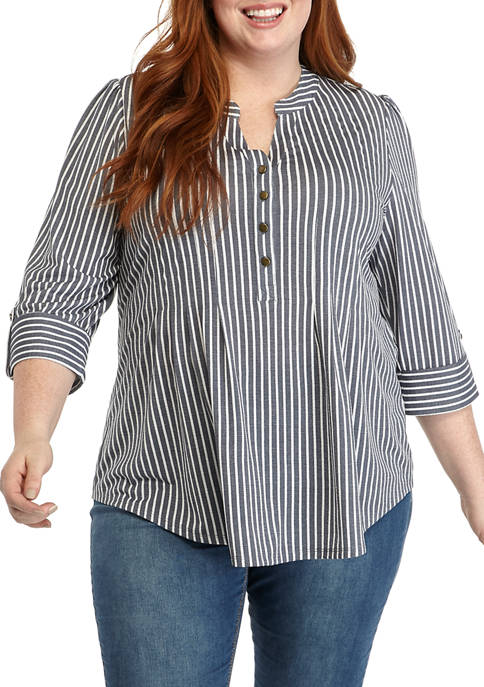 New Directions® Plus Size Stripe Henley Knit Shirt
