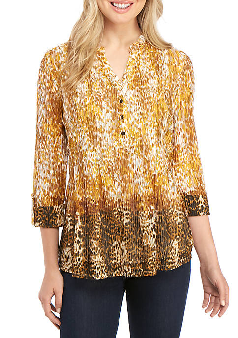 New Directions® Petite Animal Ombre Wheat Mesh Top