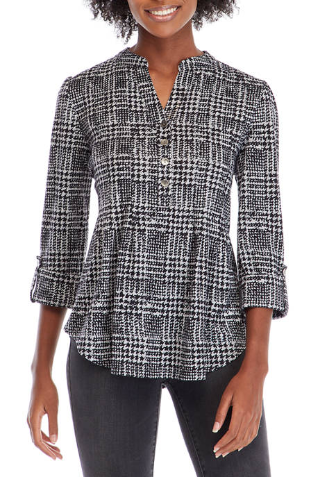 Petite Check Me Out Henley Top
