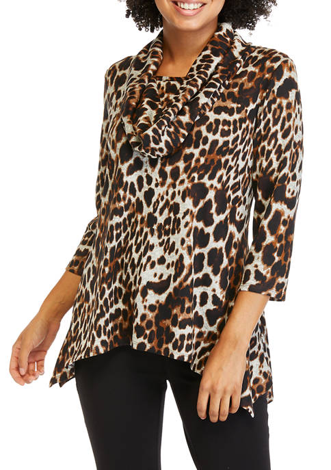 Petite Hacci Cowl Neck Printed Sweater