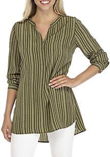 Petite Long Sleeve Striped Woven Tunic