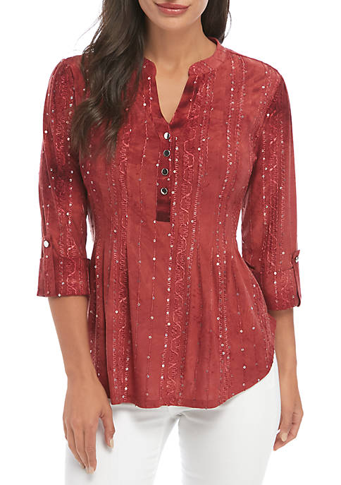 New Directions® Petite 3/4 Roll-Tab Sleeve Embellished Henley