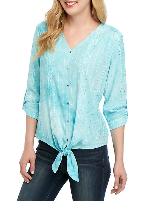 New Directions® Petite Tie Front Top