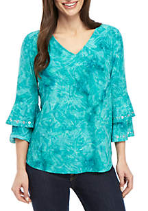 New Directions® Petite 3/4 Double Bell Sleeve Jacquard Top