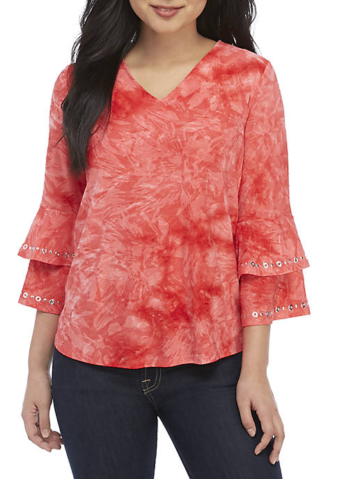 New Directions® Petite 3/4 Double Bell Sleeve Jacquard