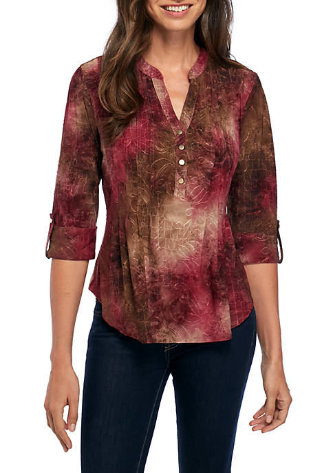 New Directions® Henley Knit Blouse